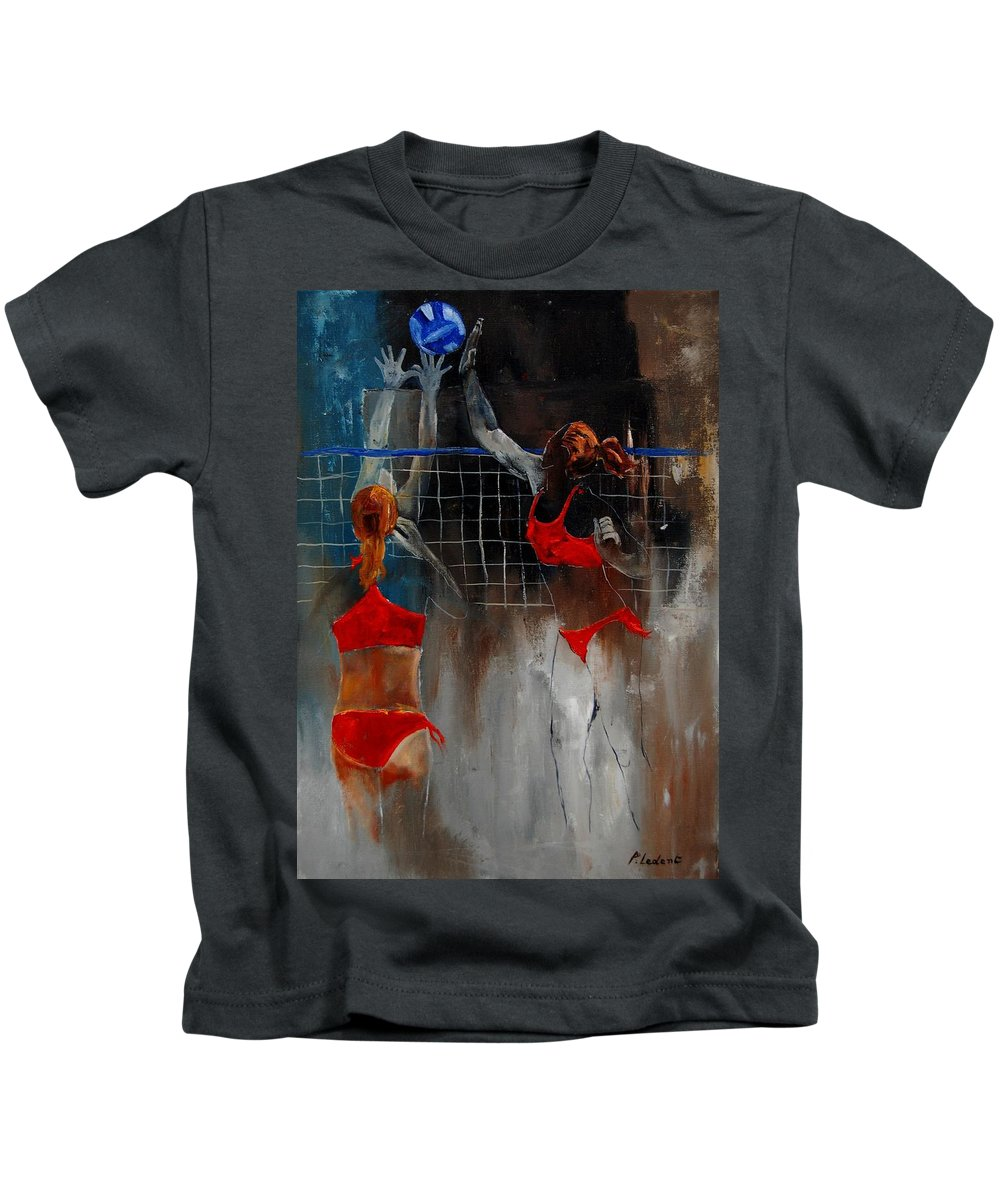 Sport Kids T-Shirt featuring the painting Playing Volley by Pol Ledent