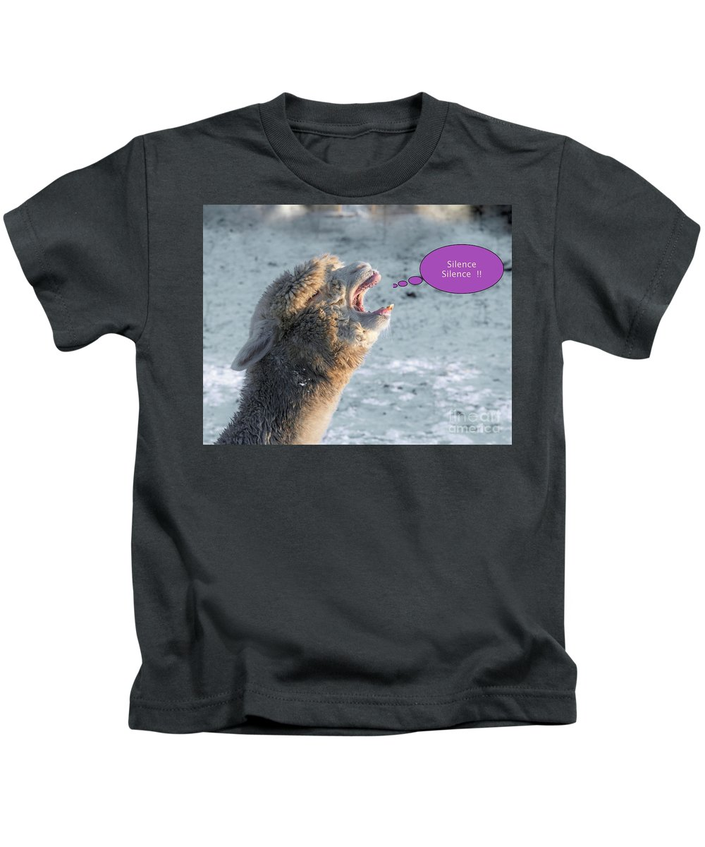 Alpaca Kids T-Shirt featuring the photograph Please Silence by Esko Lindell