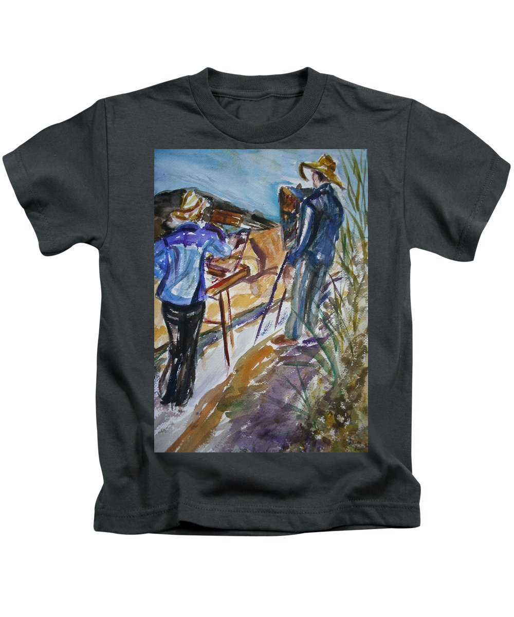 Impressionist Kids T-Shirt featuring the painting Plein Air Painters - Original Watercolor by Quin Sweetman