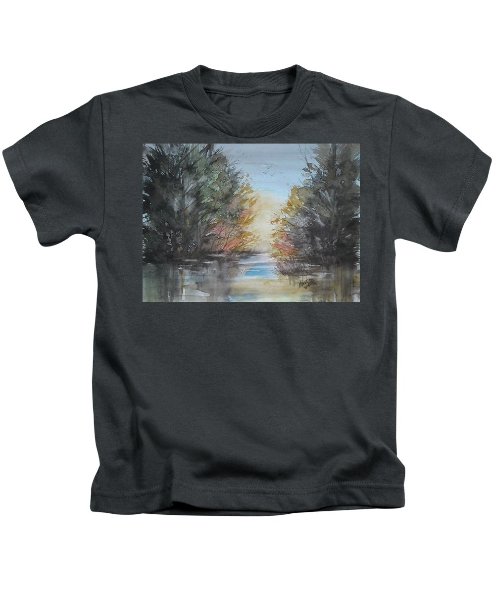 Watercolor Kids T-Shirt featuring the painting Pm River Sunset by David K Myers