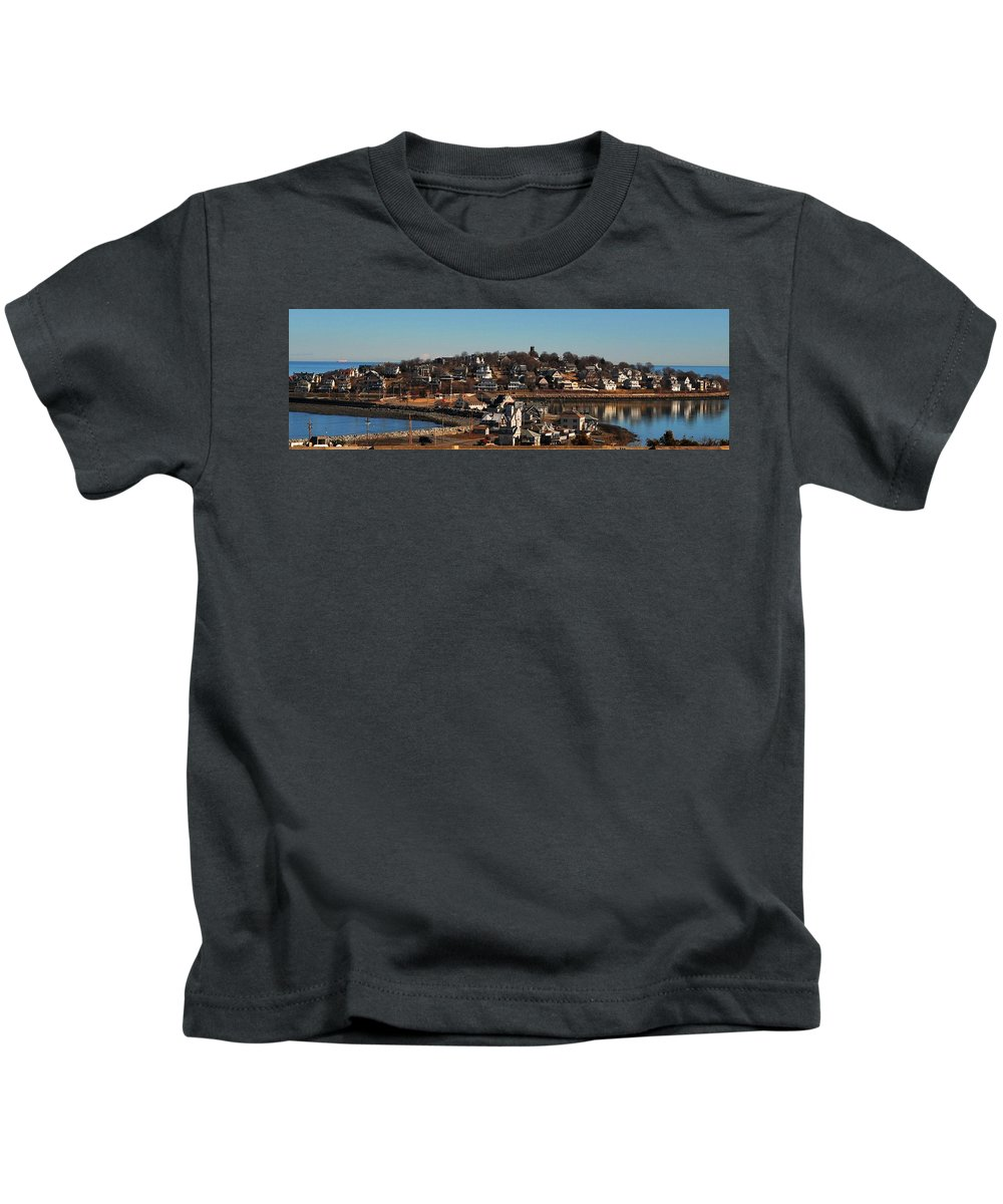 Point Allerton From Fort Revere Hull Ma Kids T-Shirt featuring the photograph Point Allerton From Fort Revere by Bill Driscoll