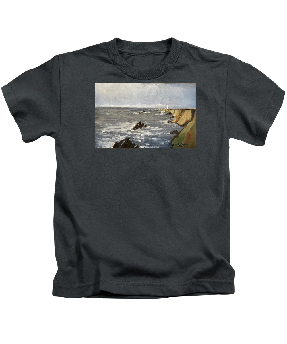 Point Arena Lighthouse Kids T-Shirt featuring the painting Point Arena Lighthouse by Sergio A Ramos