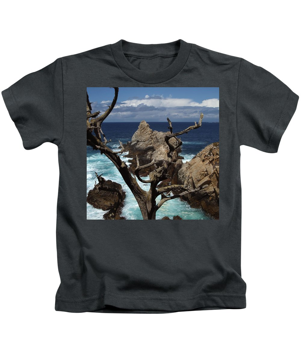 Carmel Kids T-Shirt featuring the photograph Point Lobos Rocks And Branches by Charlene Mitchell