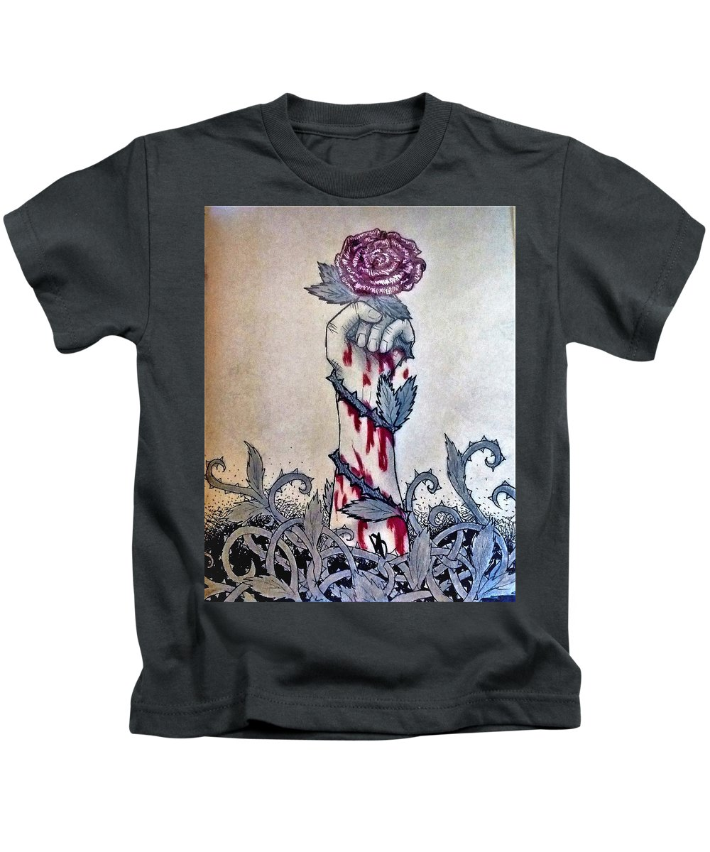 Rose Kids T-Shirt featuring the drawing Poison by Desiree D'Arnall