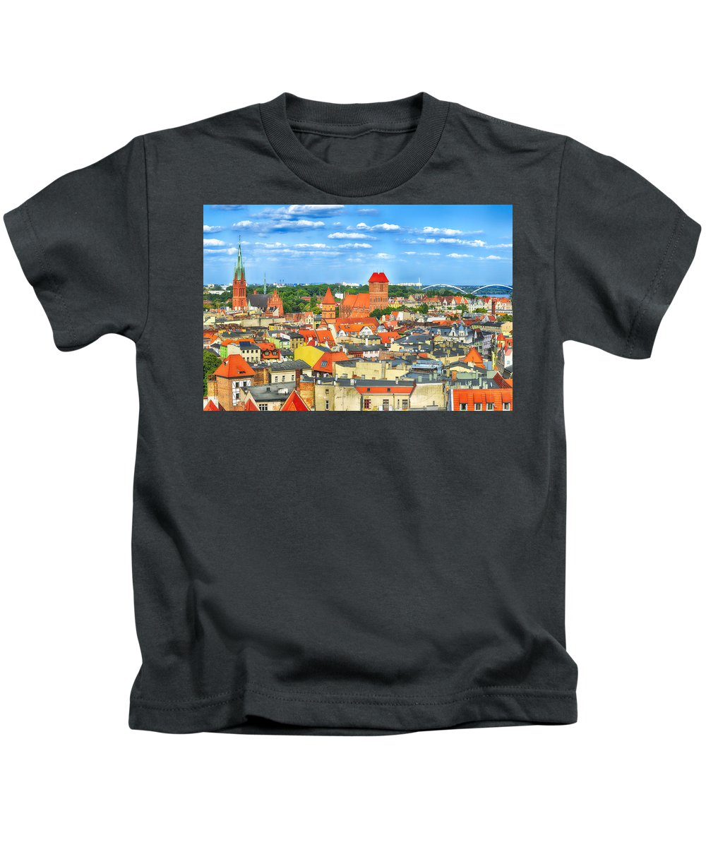 Poland Kids T-Shirt featuring the photograph Poland, Torun, Urban Landscape. by Adriano Bussi