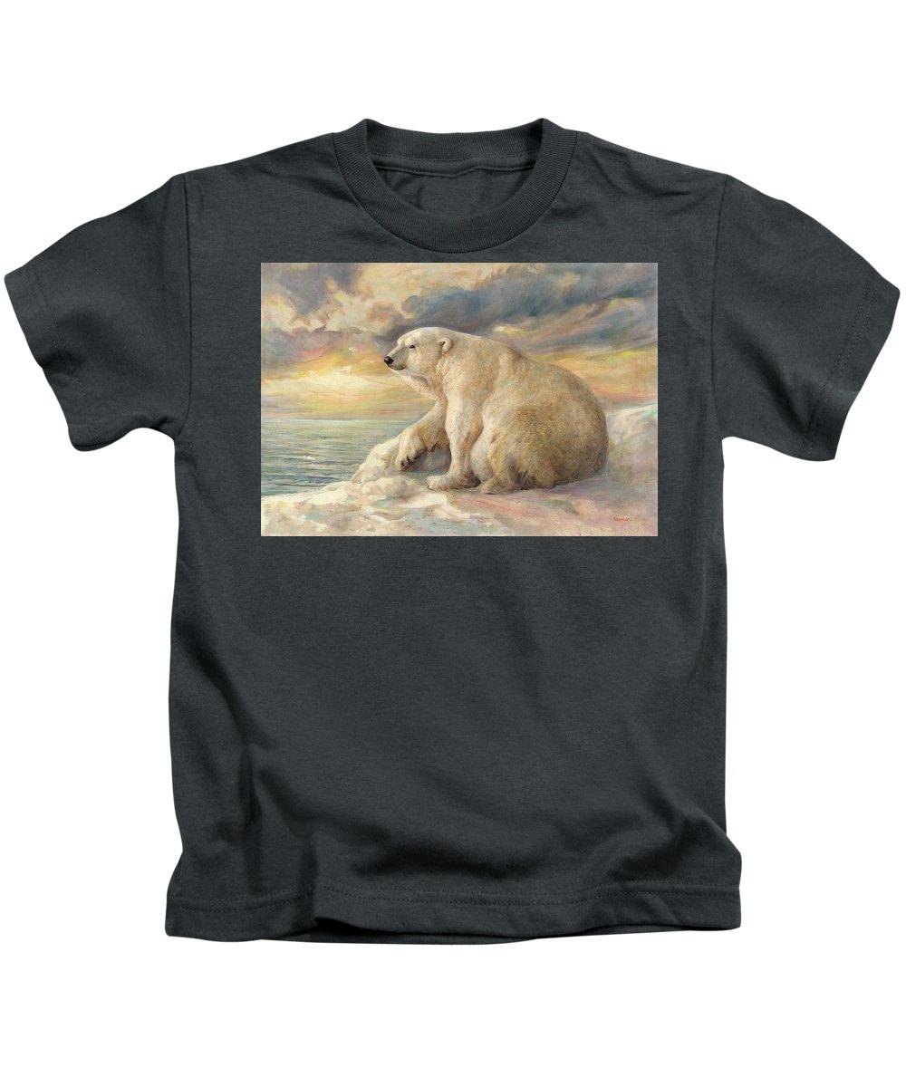 Polar Bear Kids T-Shirt featuring the painting Polar Bear Rests On The Ice - Arctic Alaska by Svitozar Nenyuk