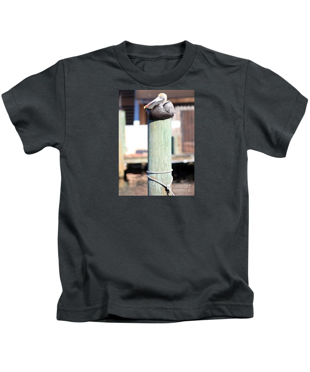 Wildlife Kids T-Shirt featuring the photograph Pole Top Pelican by Carol Groenen