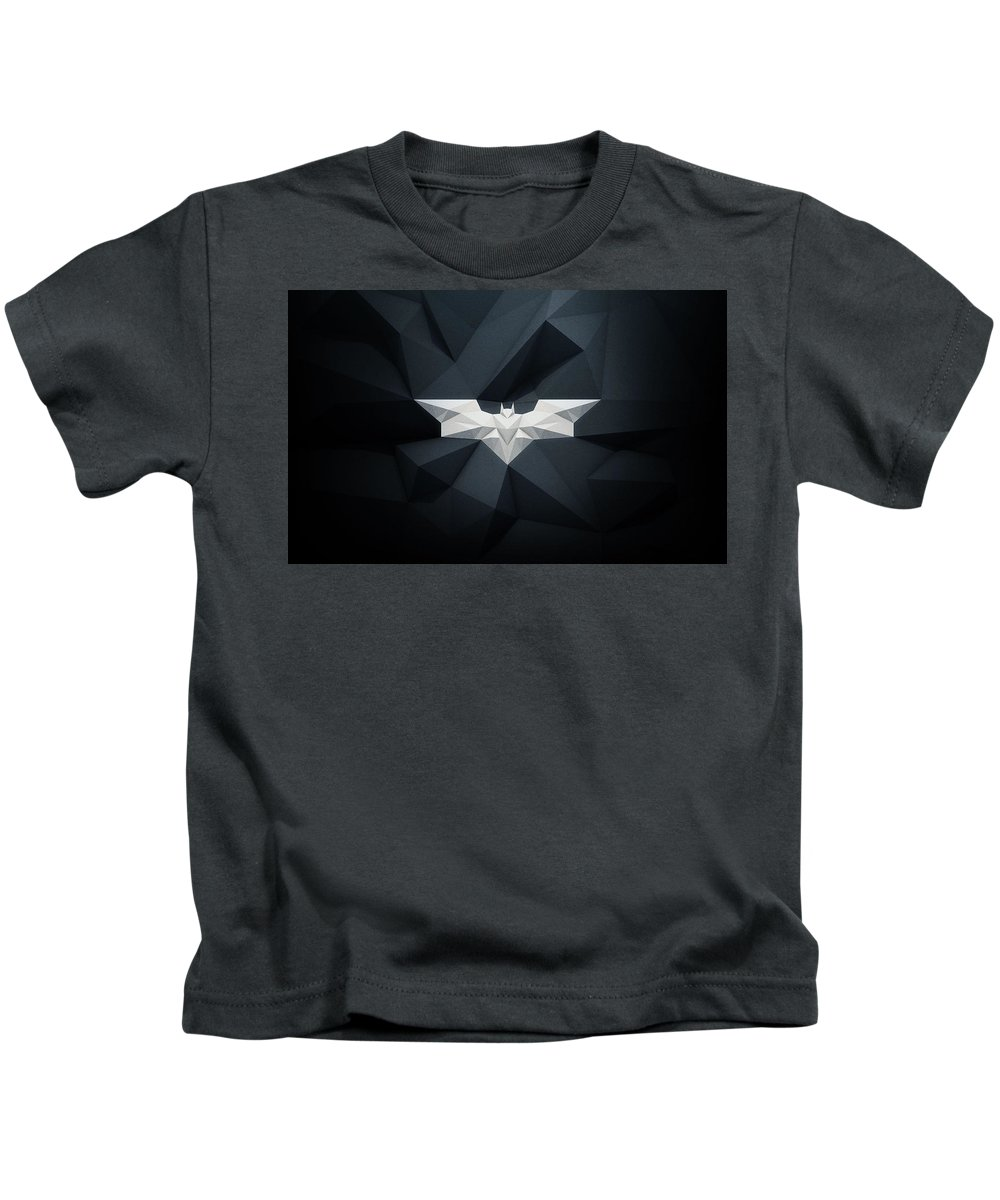 Low Polygon Kids T-Shirt featuring the digital art Polygon Batman Logo - 7515 by Jovemini ART