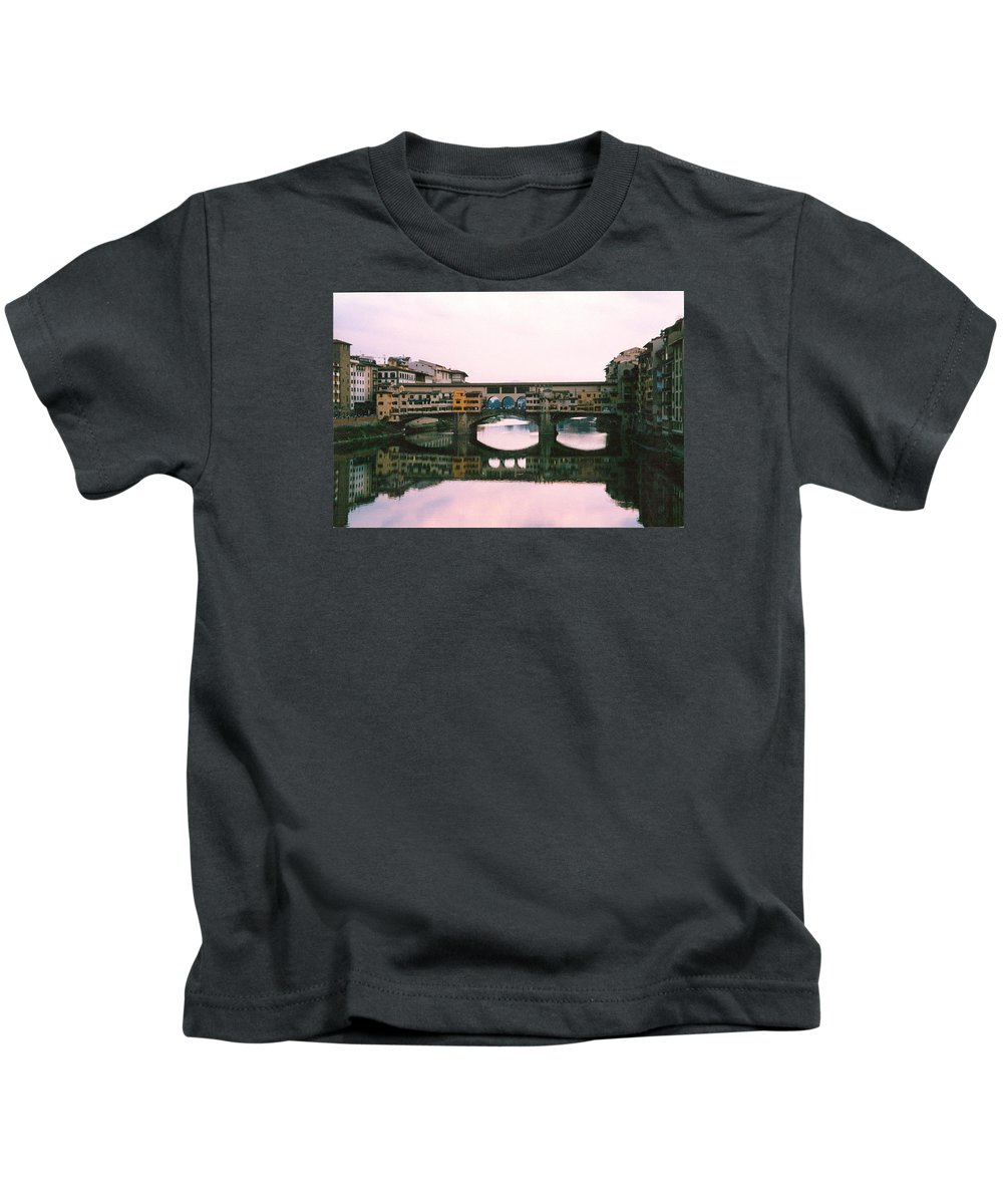Italy Kids T-Shirt featuring the photograph Ponte Vecchio Sunset Photograph by Kimberly Walker