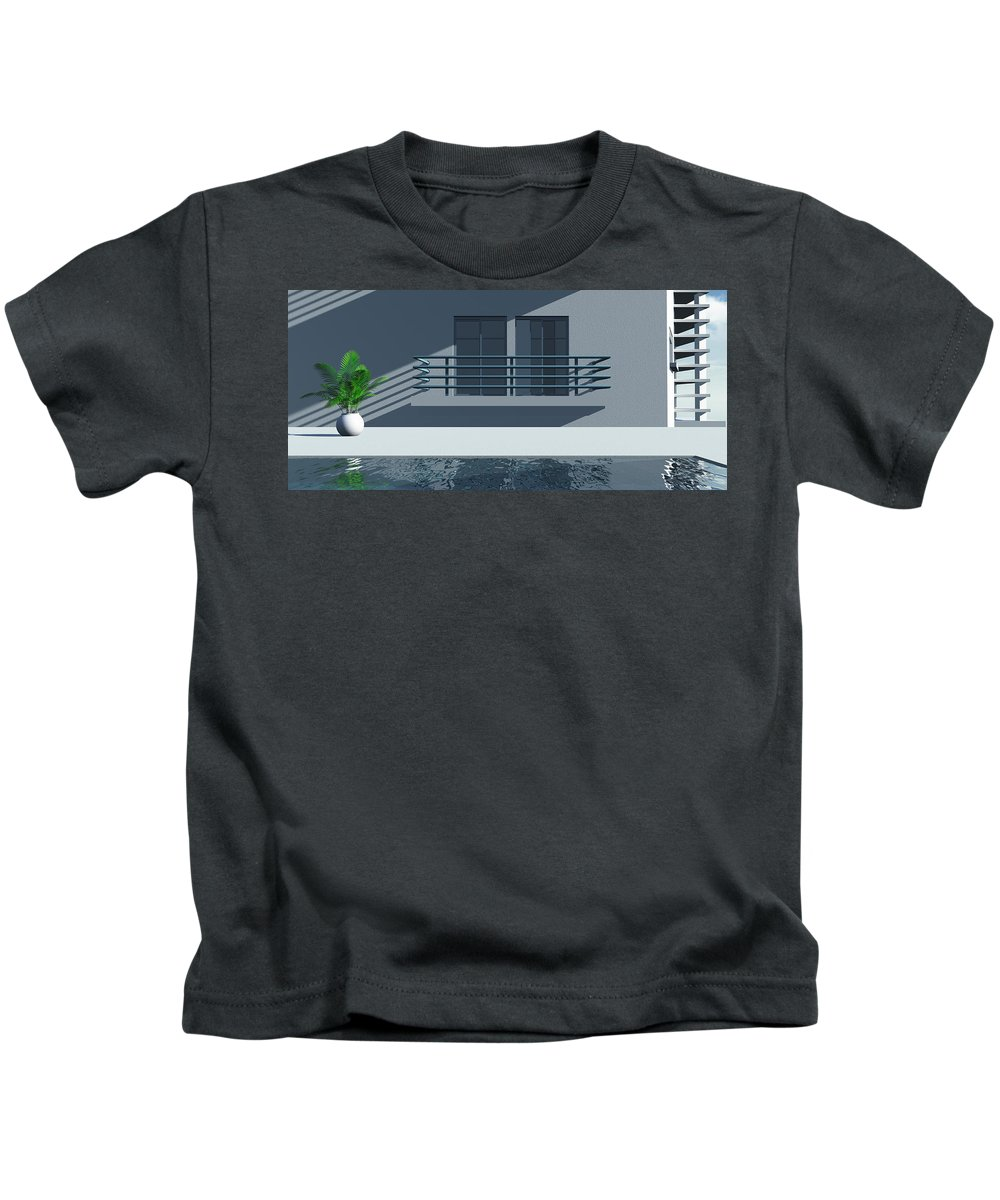 Abstract Kids T-Shirt featuring the digital art Pool Side by Richard Rizzo