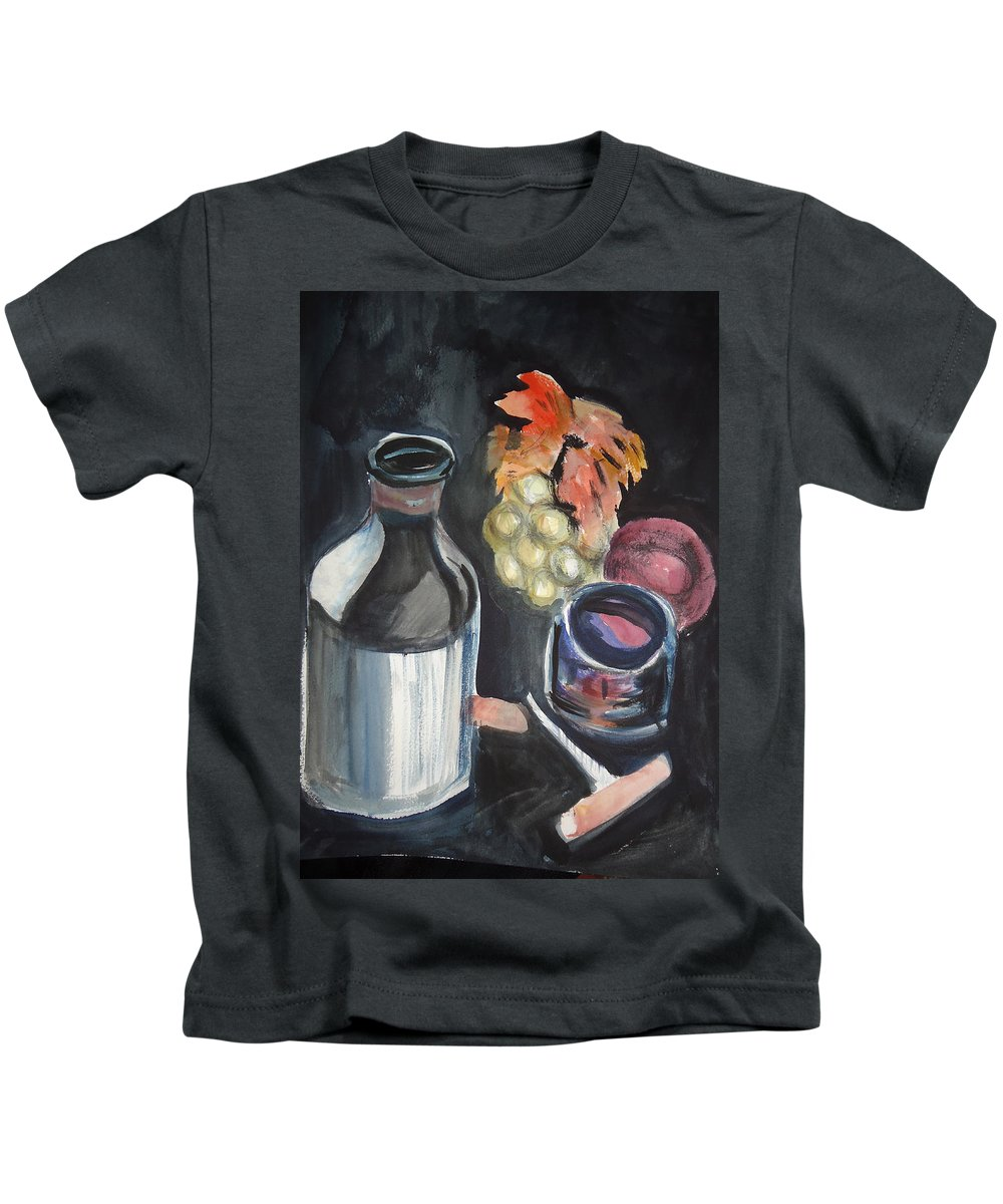 Grapes Kids T-Shirt featuring the mixed media Pop The Cork by Charme Curtin
