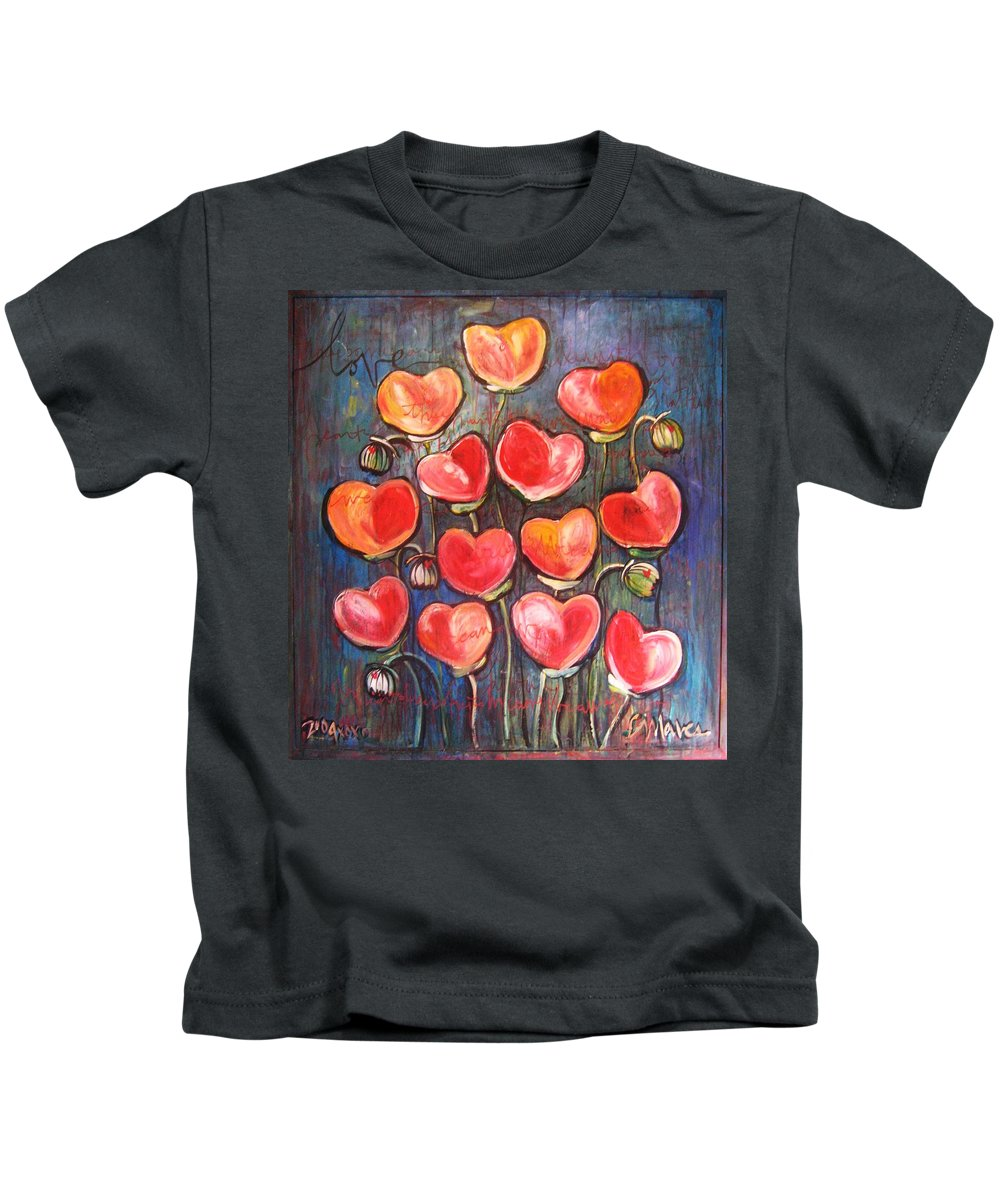 Poppies Kids T-Shirt featuring the painting Poppies Are Hearts Of Love We Can Give Away by Laurie Maves ART