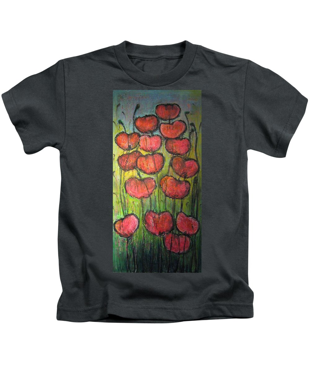 Poppies Kids T-Shirt featuring the painting Poppies In Oil by Laurie Maves ART
