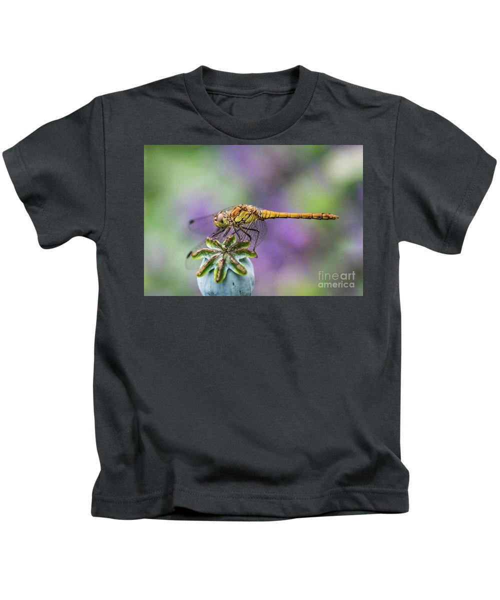 Poppy Kids T-Shirt featuring the photograph Poppy And The Dragonfly by Alex Hiemstra