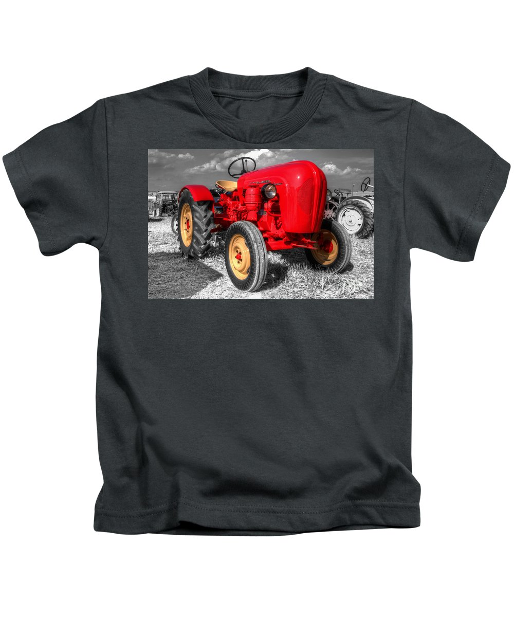 Porsche Kids T-Shirt featuring the photograph Porsche Tractor by Rob Hawkins