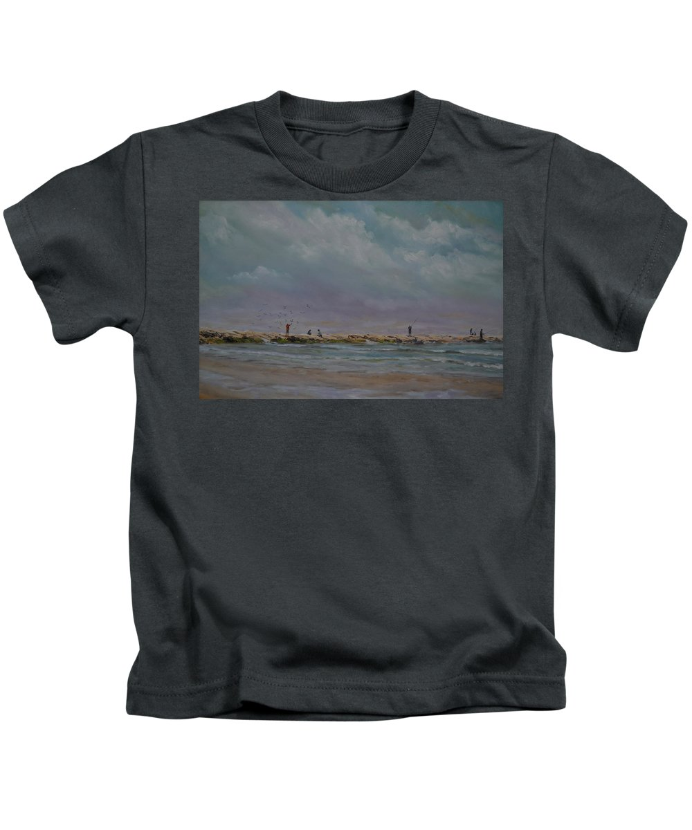 Port Aransas Kids T-Shirt featuring the painting Port Aransas Jetty In by Karen Butcher