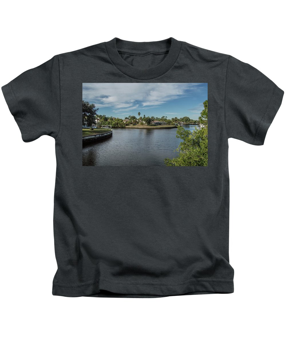 Florida Kids T-Shirt featuring the photograph Port Charlotte Adhenry Waterway From Midway by Don Kerr