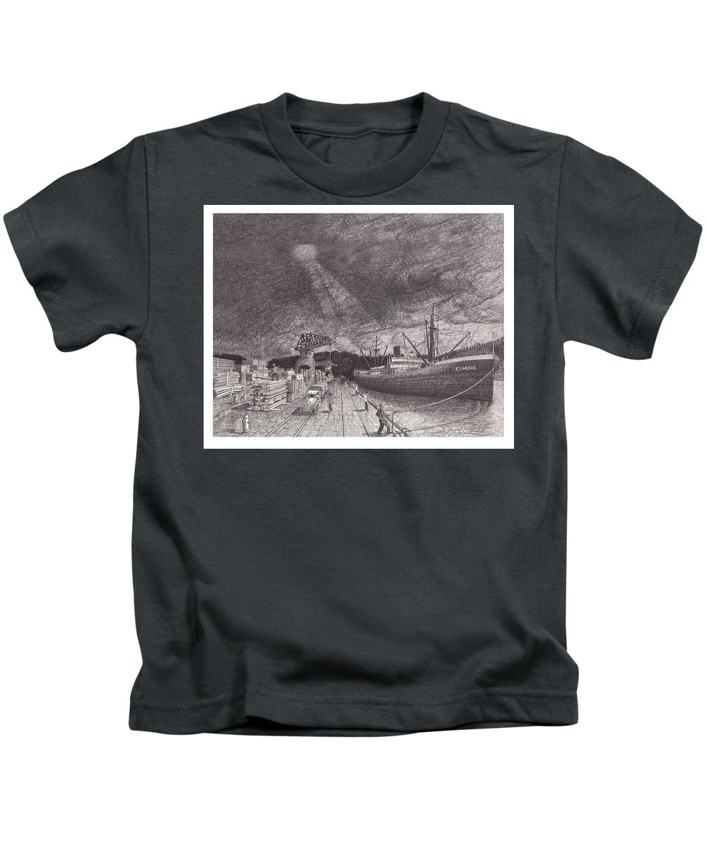 Port Of Tacoma Kids T-Shirt featuring the drawing Port Of Tacoma Wa Waterfront by Jack Pumphrey