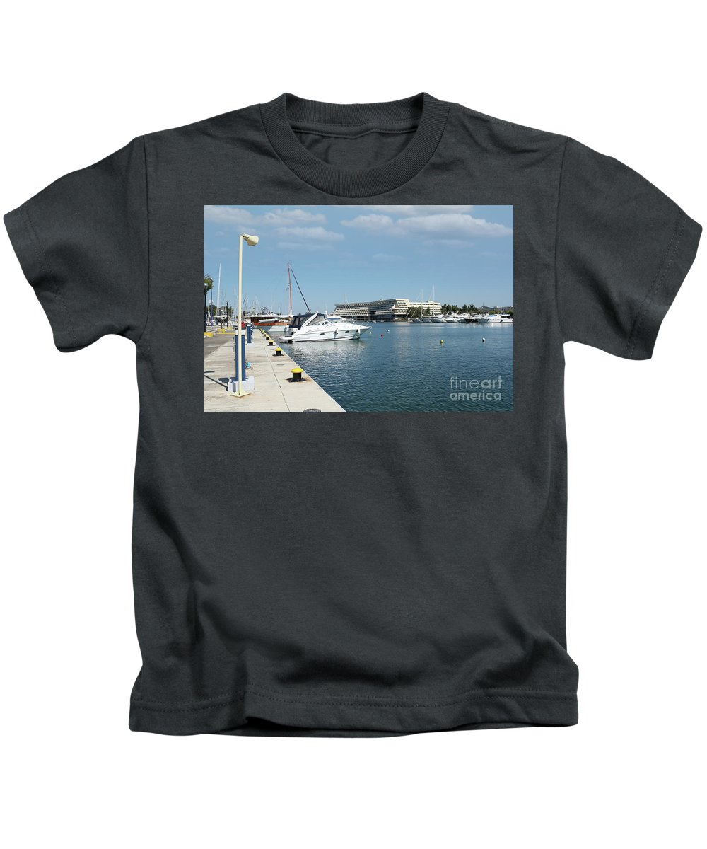 Yacht Kids T-Shirt featuring the photograph Porto Carras Harbor With Yacht And Resort by Goce Risteski