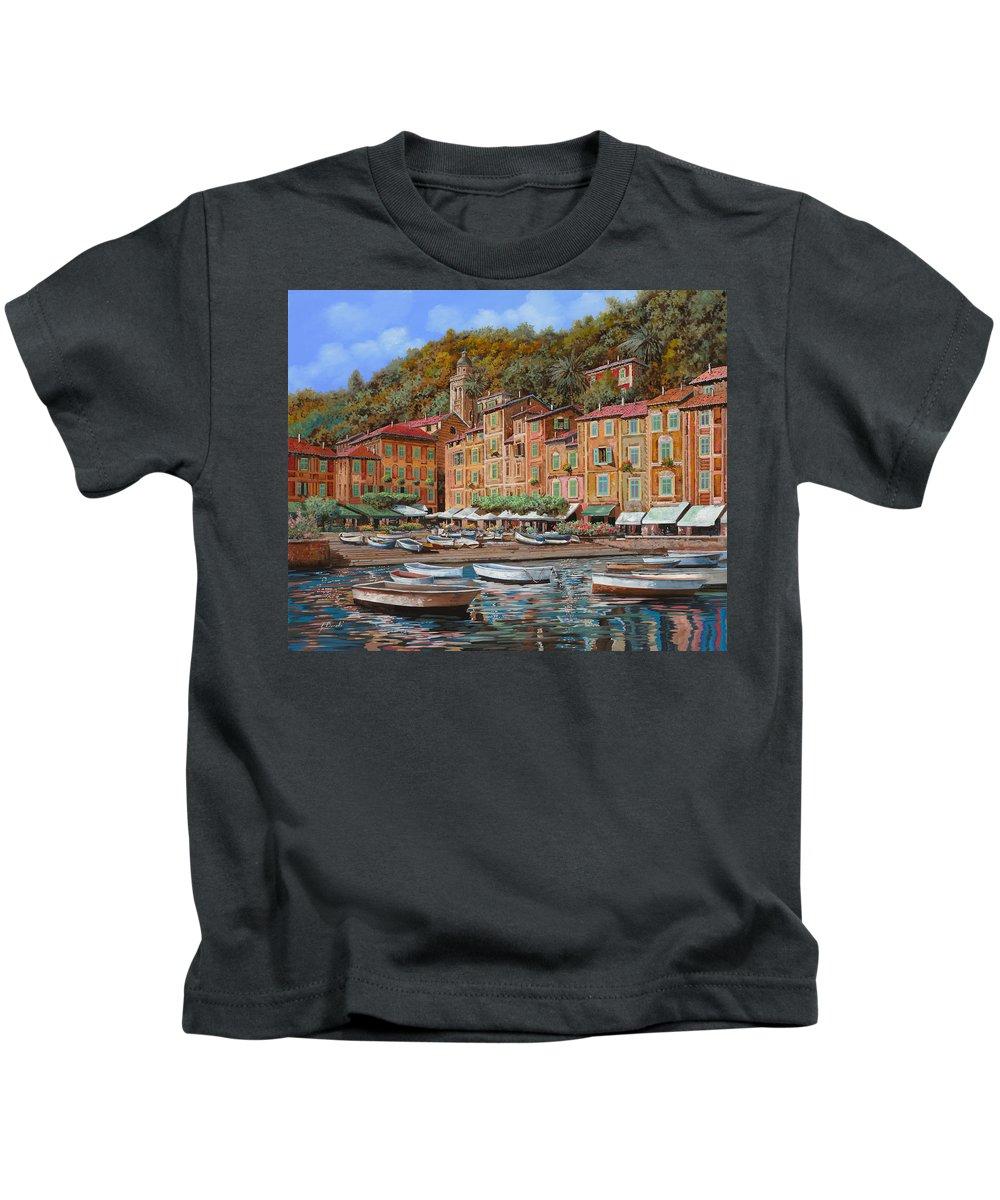 Portofino Kids T-Shirt featuring the painting Portofino-la Piazzetta E Le Barche by Guido Borelli