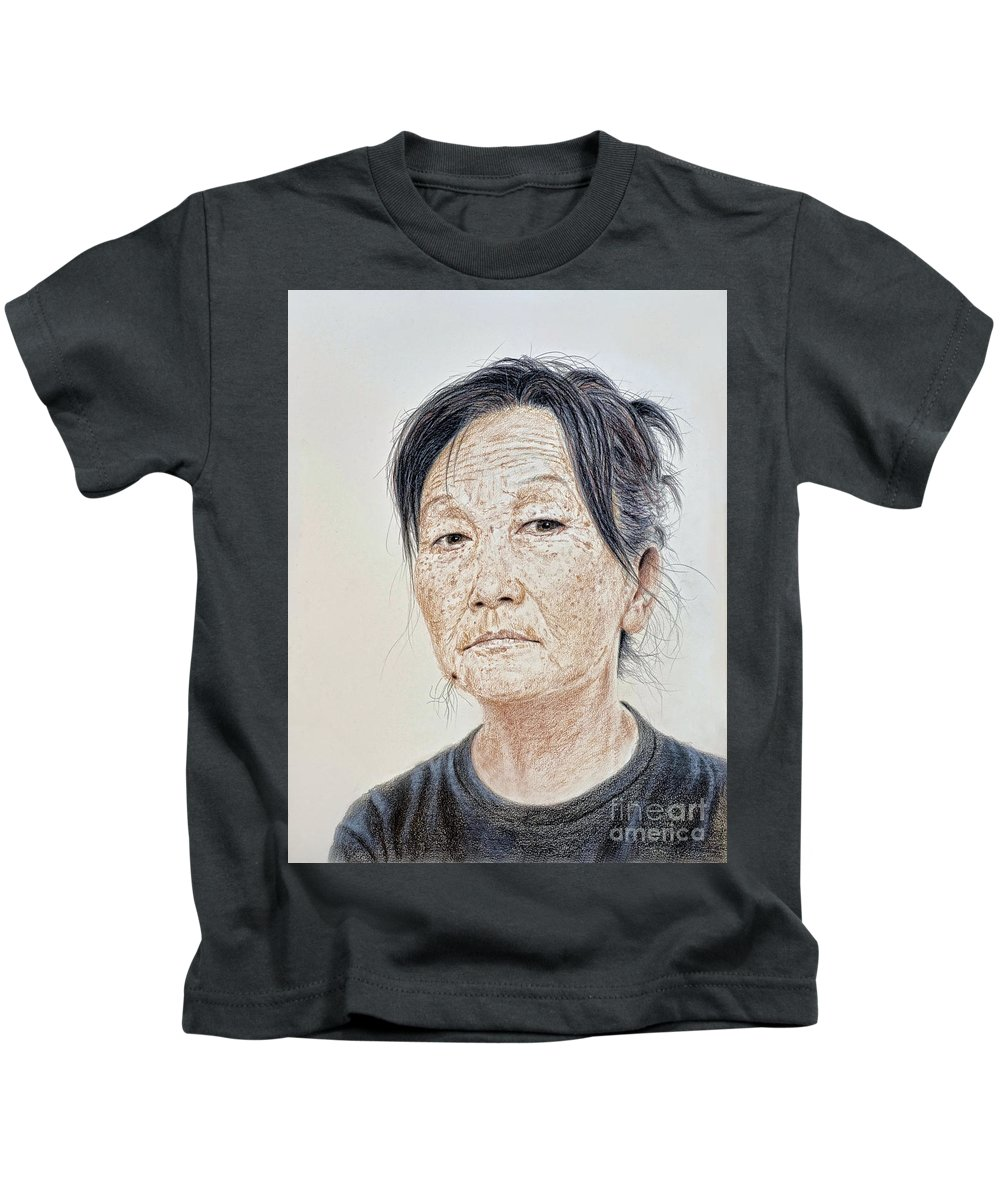 Portrait Kids T-Shirt featuring the mixed media Portrait Of A Chinese Woman With A Mole On Her Chin by Jim Fitzpatrick