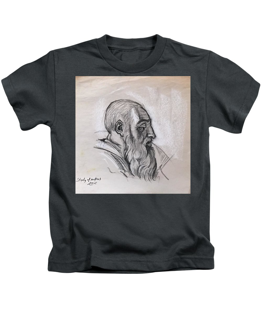 Kids T-Shirt featuring the drawing Portrait Of A Phrophet After Michelangelo by Alejandro Lopez-Tasso