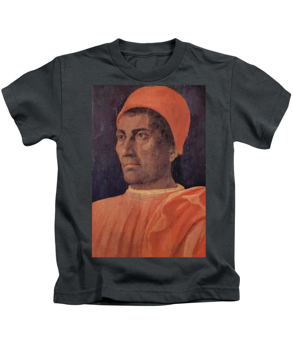 Portrait Kids T-Shirt featuring the painting Portrait Of Cardinal Carlo De Medici 1466 by Mantegna Andrea