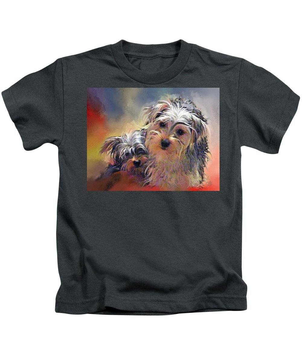 Yorkshire Terrier Puppy Dogs Kids T-Shirt featuring the painting Portrait Of Yorkshire Terrier Puppy Dogs by Susanna Katherine