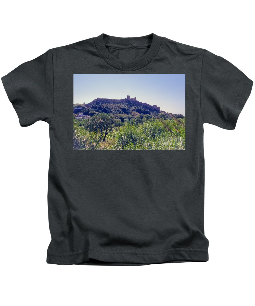 Portuguese Republic Portugal Hilltop Fortress Castle Fortresses Castles Landscape Landscapes Structure Structures Architecture Kids T-Shirt featuring the photograph Portuguese Fortress by Bob Phillips