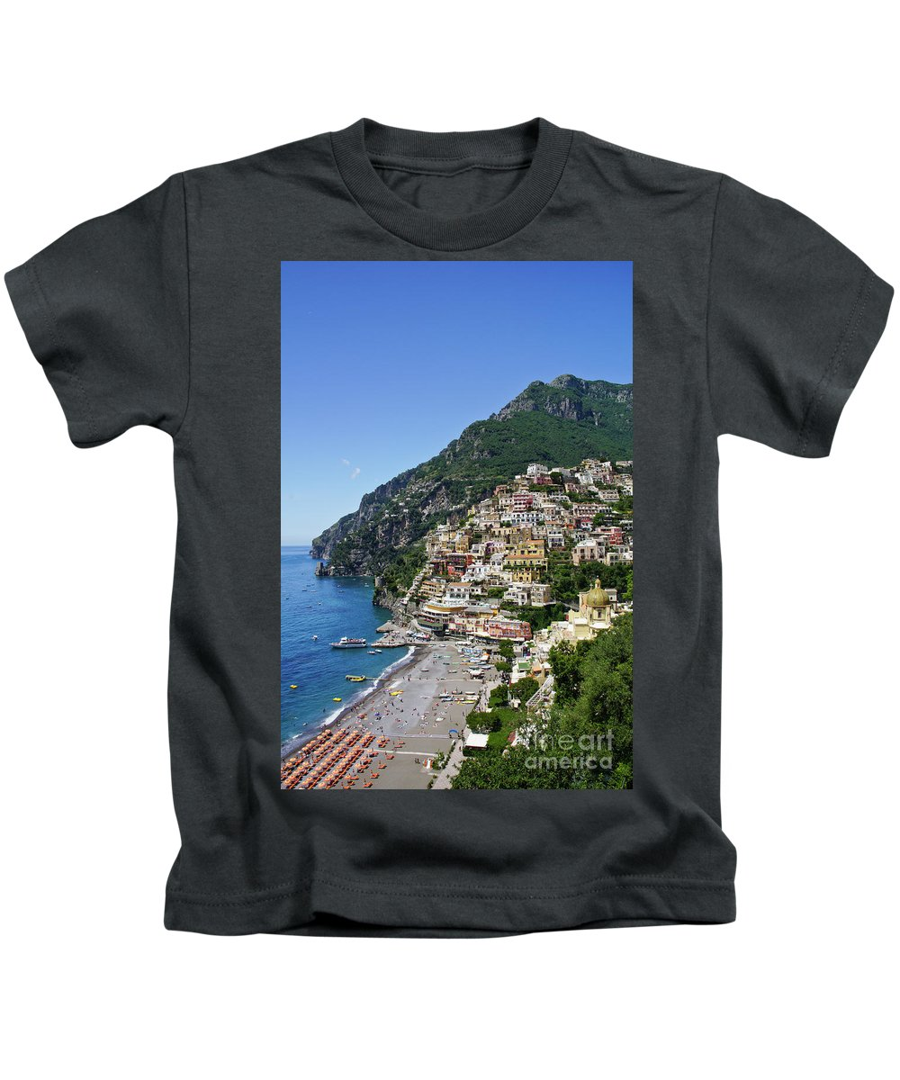 Positano Kids T-Shirt featuring the photograph Positano by Brian Kamprath