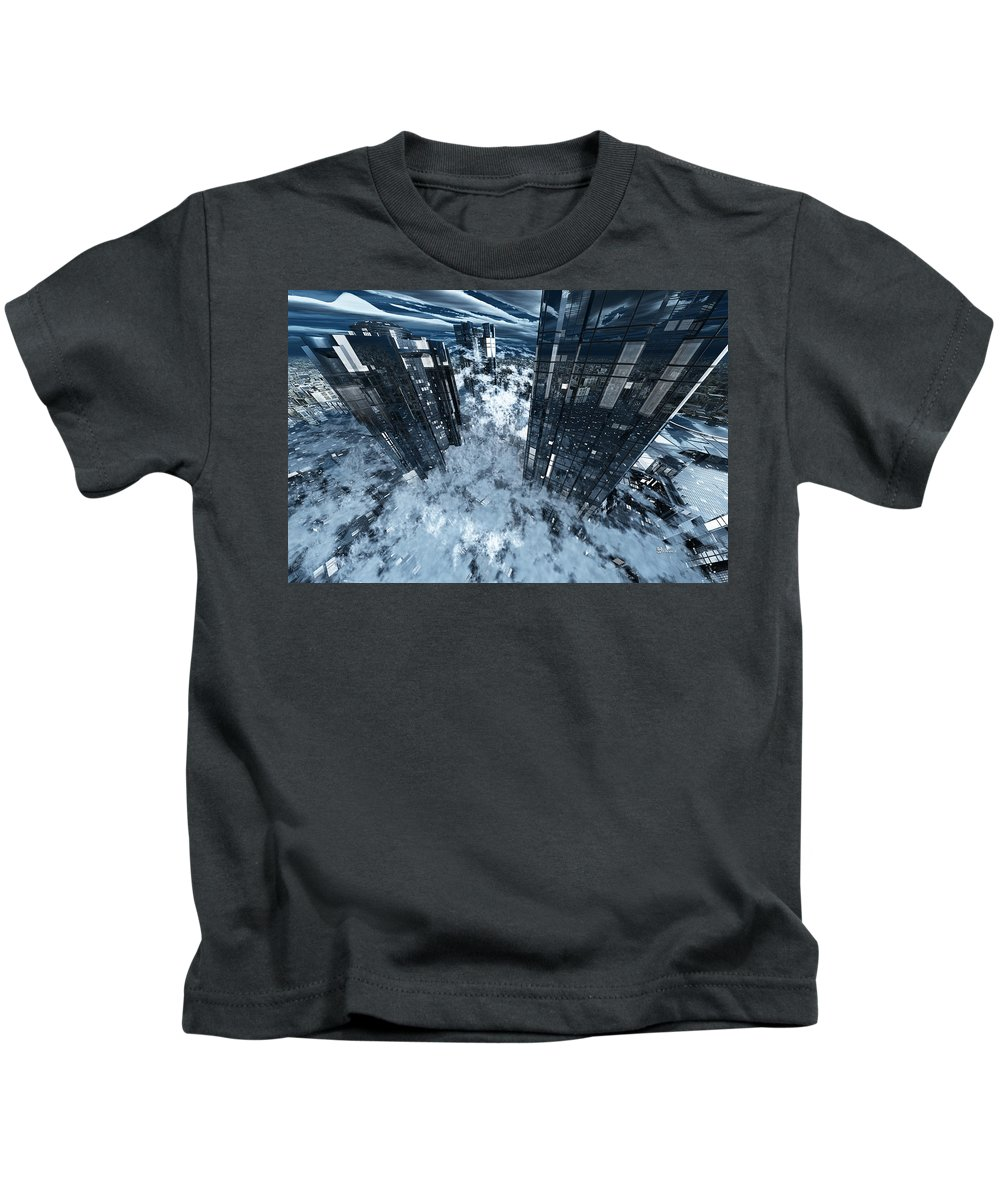 Abstractly Kids T-Shirt featuring the digital art Poster-city 8 by Max Steinwald