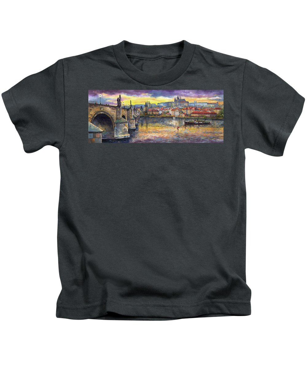 Oil On Canvas Kids T-Shirt featuring the painting Prague Charles Bridge and Prague Castle with the Vltava River 1 by Yuriy Shevchuk