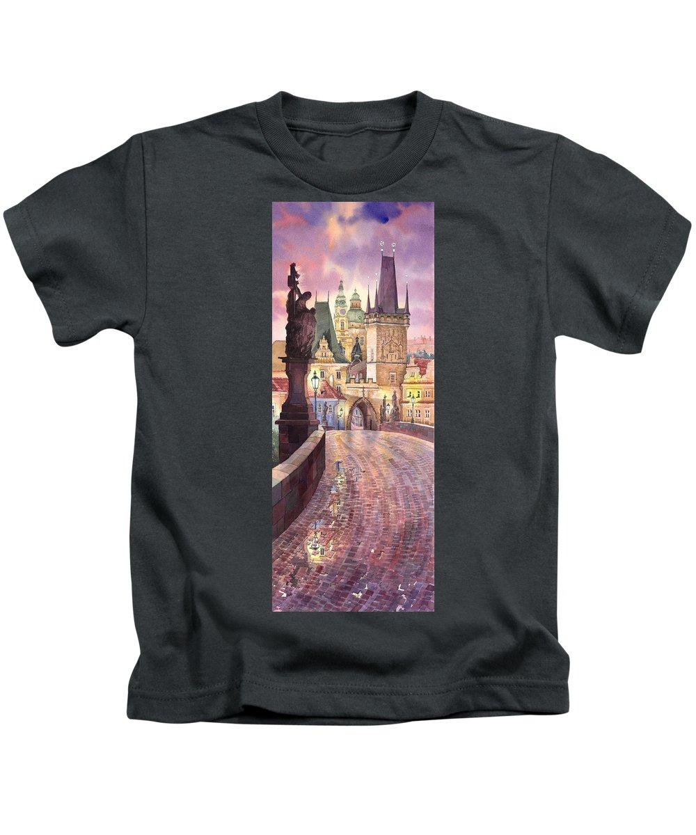 Watercolour Kids T-Shirt featuring the painting Prague Charles Bridge Night Light 1 by Yuriy Shevchuk
