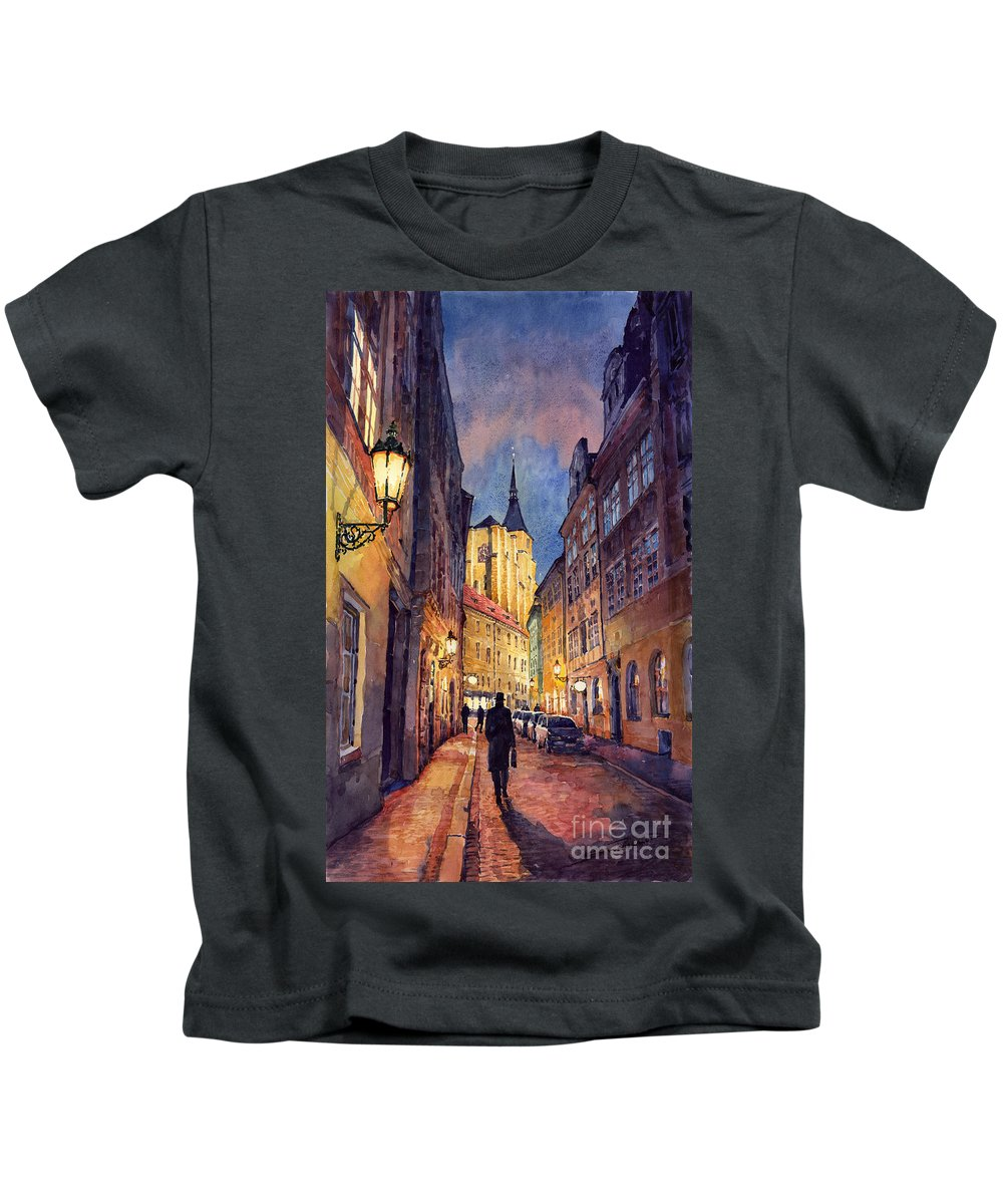 Architecture Kids T-Shirt featuring the painting Prague Husova Street by Yuriy Shevchuk