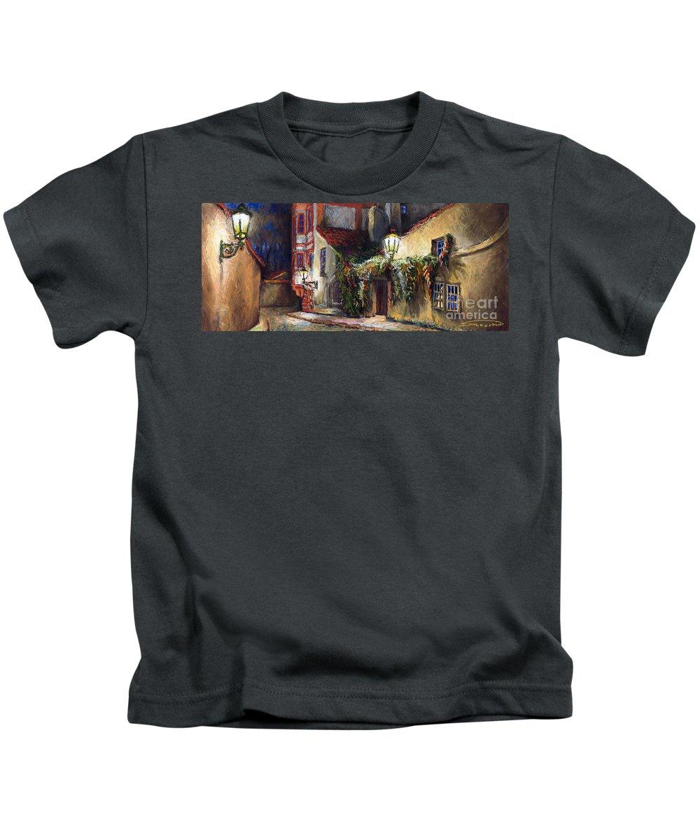 Prague Kids T-Shirt featuring the painting Prague Novy Svet Kapucinska Str by Yuriy Shevchuk