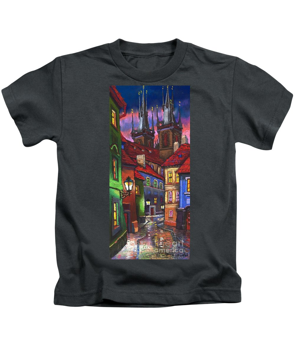 Pastel Kids T-Shirt featuring the painting Prague Old Street 01 by Yuriy Shevchuk