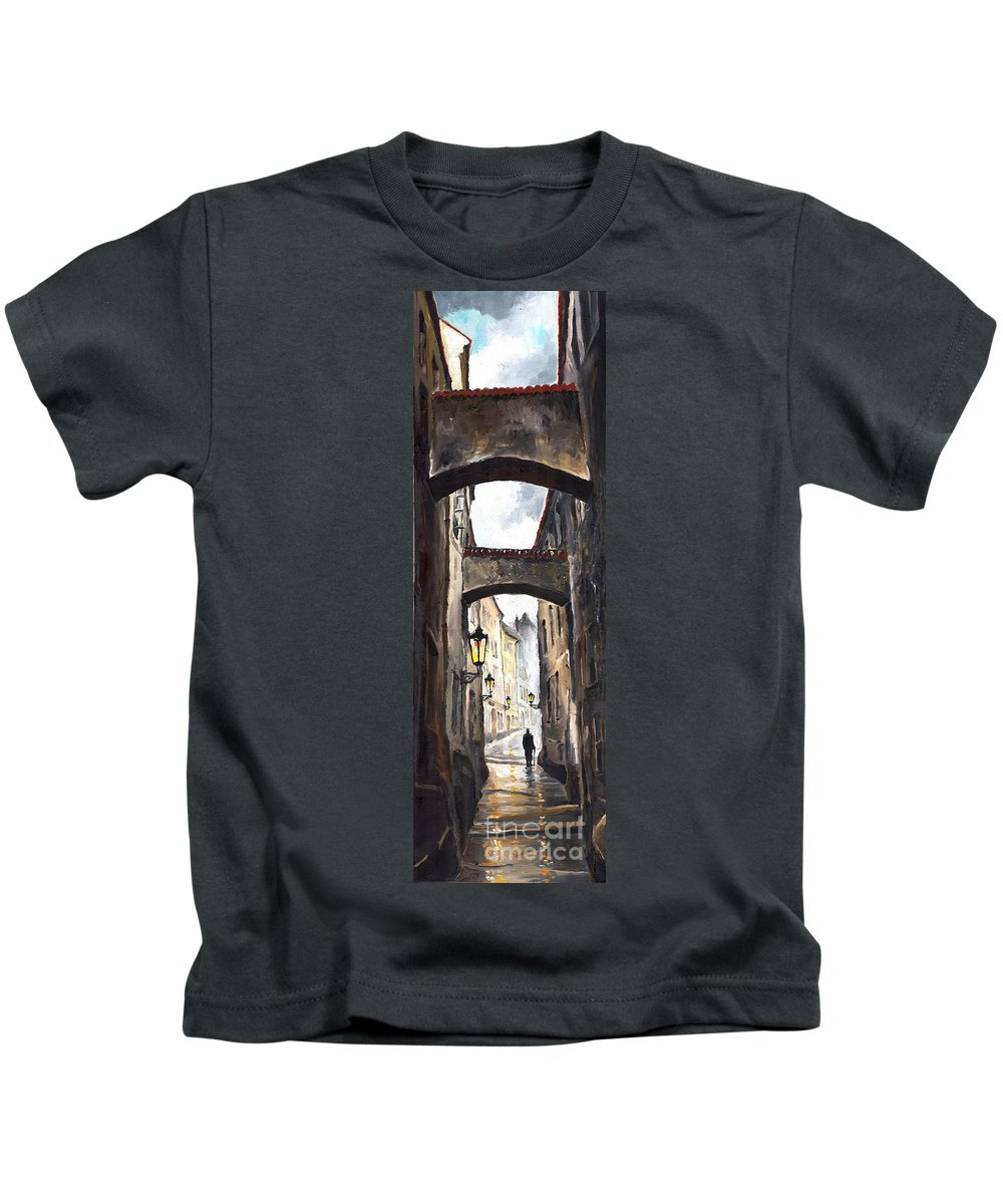 Oil On Canvas Paintings Kids T-Shirt featuring the painting Prague Old Street 02 by Yuriy Shevchuk