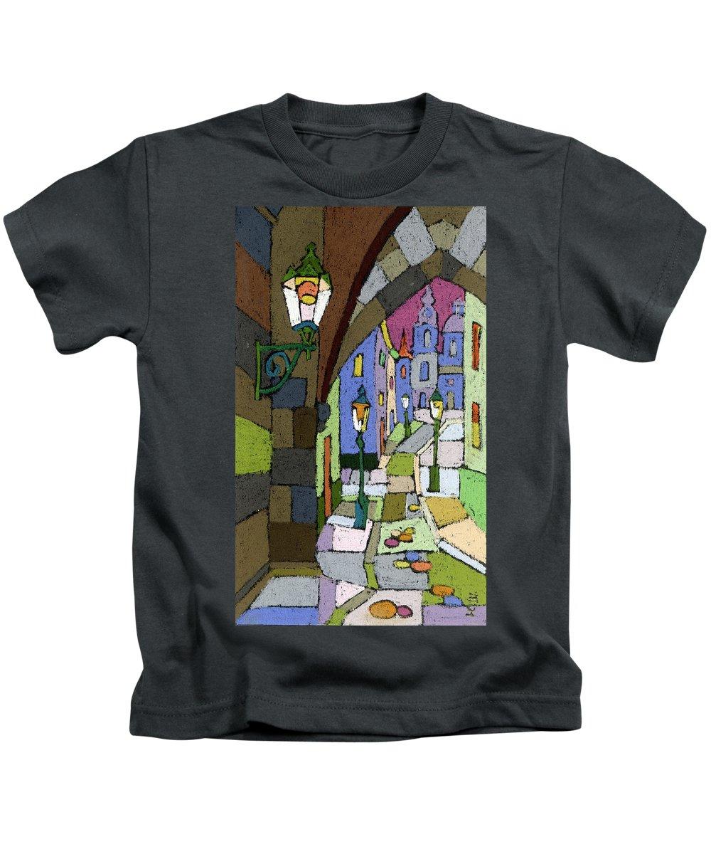 Pastel Kids T-Shirt featuring the painting Prague Old Street Mostecka by Yuriy Shevchuk