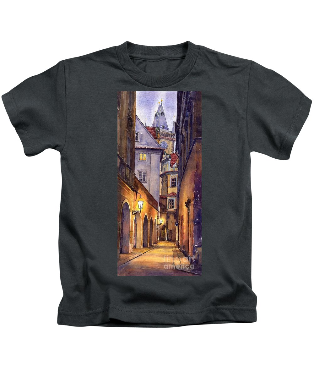 Cityscape Kids T-Shirt featuring the painting Prague Old Street by Yuriy Shevchuk
