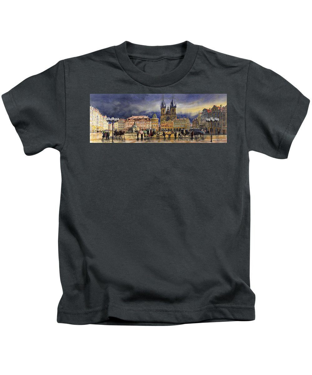 Watercolor Kids T-Shirt featuring the painting Prague Old Town Squere After rain by Yuriy Shevchuk
