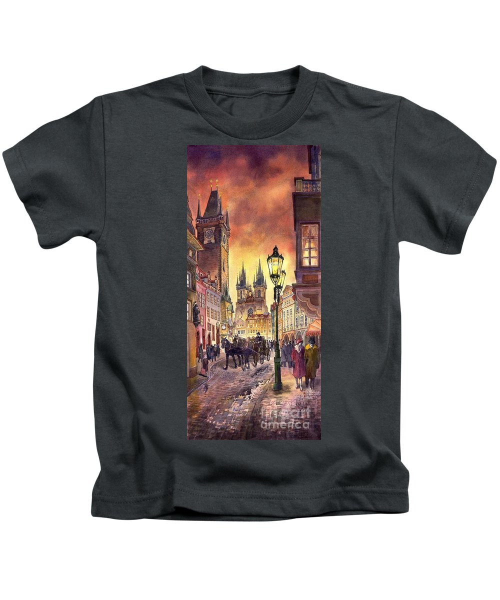 Cityscape Kids T-Shirt featuring the painting Prague Old Town Squere by Yuriy Shevchuk