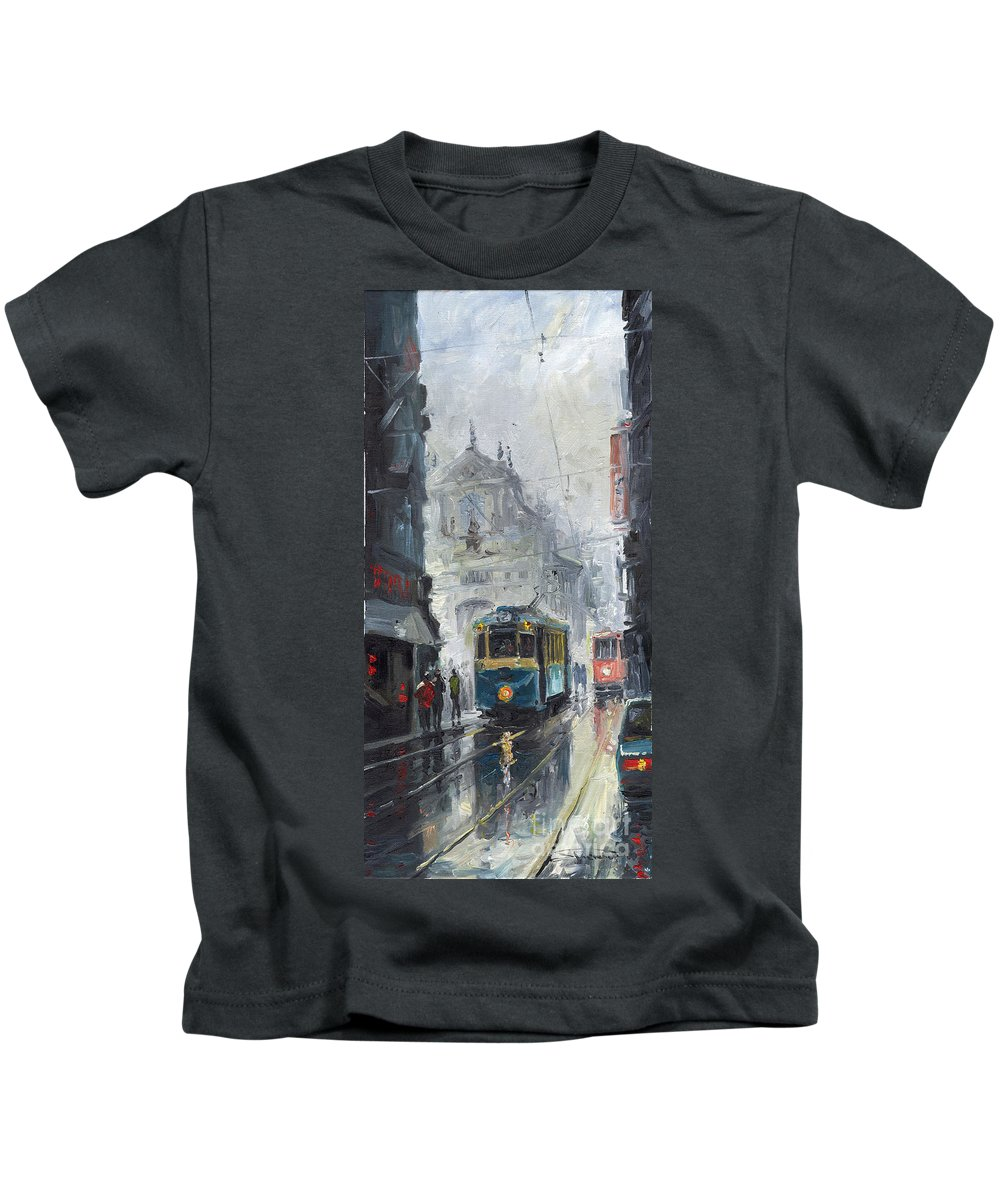 Oil On Canvas Kids T-Shirt featuring the painting Prague Old Tram 04 by Yuriy Shevchuk