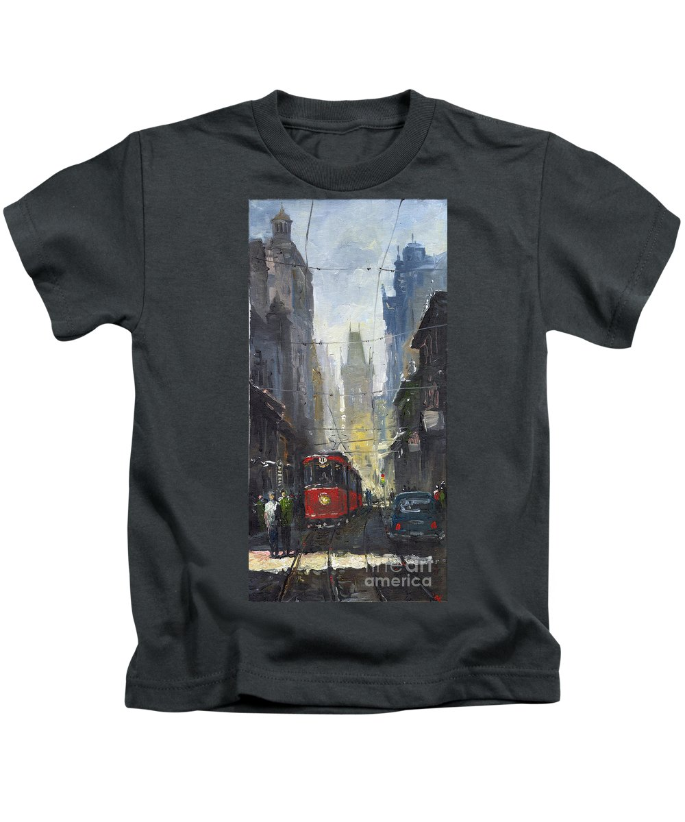 Oil On Canvas Paintings Kids T-Shirt featuring the painting Prague Old Tram 05 by Yuriy Shevchuk
