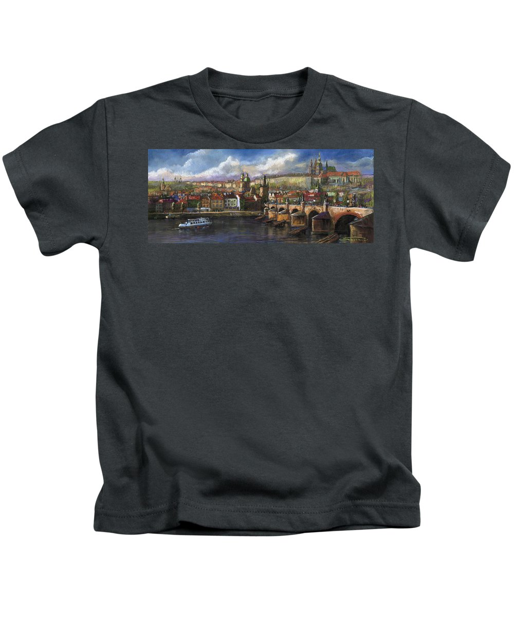 Pastel Kids T-Shirt featuring the painting Prague Panorama Charles Bridge Prague Castle by Yuriy Shevchuk