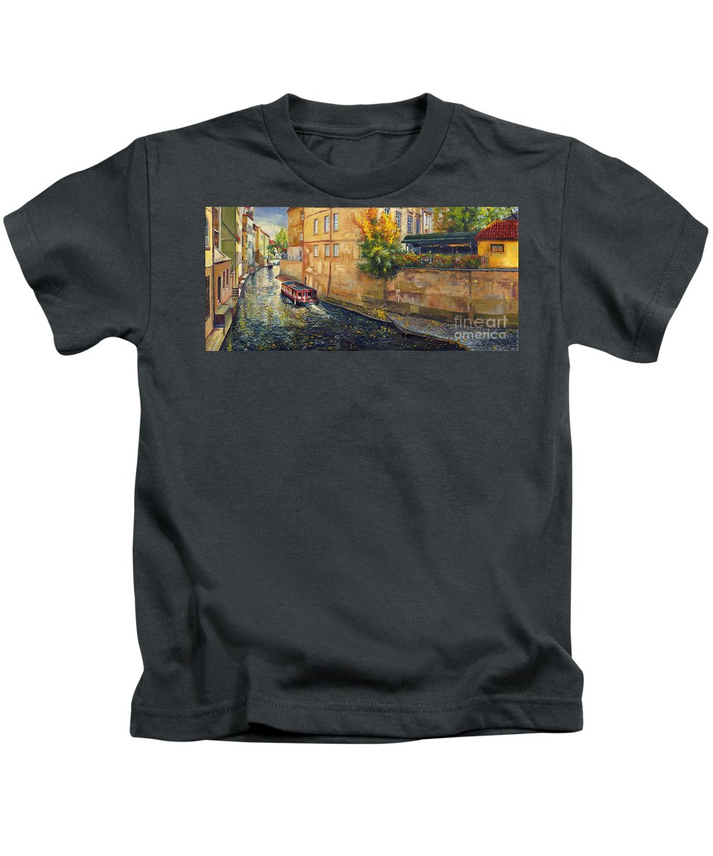 Oil.prague Kids T-Shirt featuring the painting Prague Venice Chertovka 2 by Yuriy Shevchuk