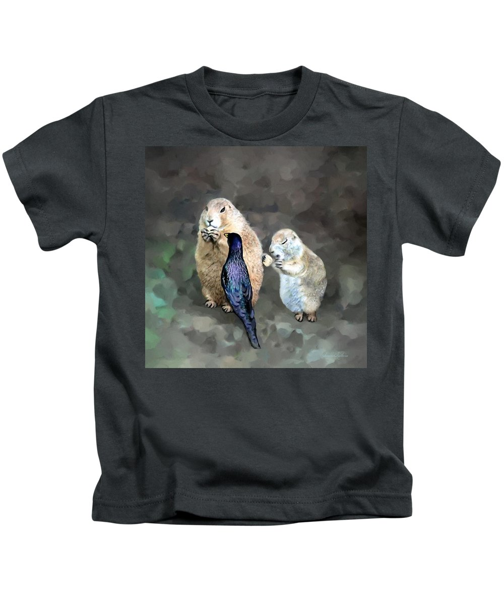 Animals Kids T-Shirt featuring the painting Prairie Dogs And A Bird Eating by Susanna Katherine