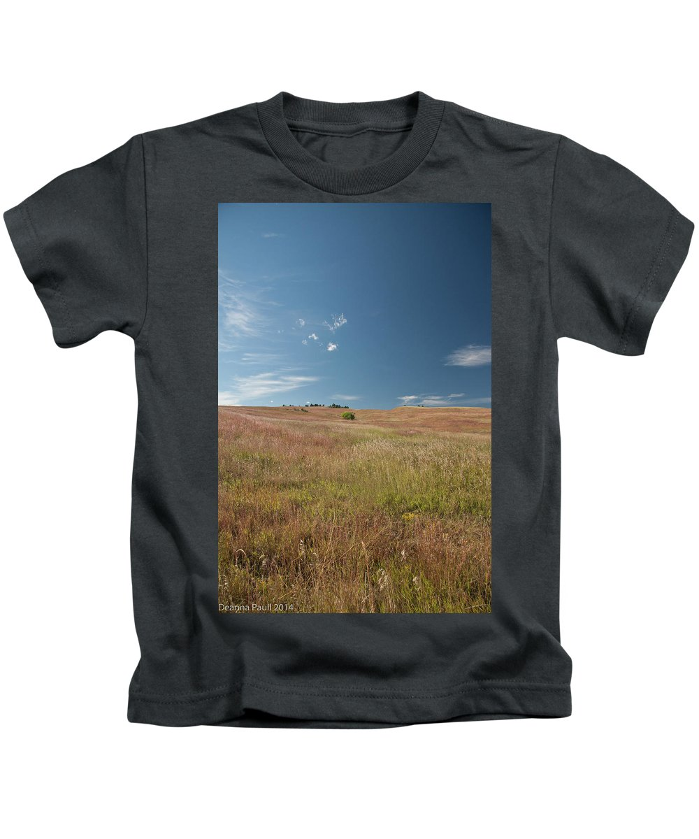 Nature Kids T-Shirt featuring the photograph Prairie Sky by Deanna Paull
