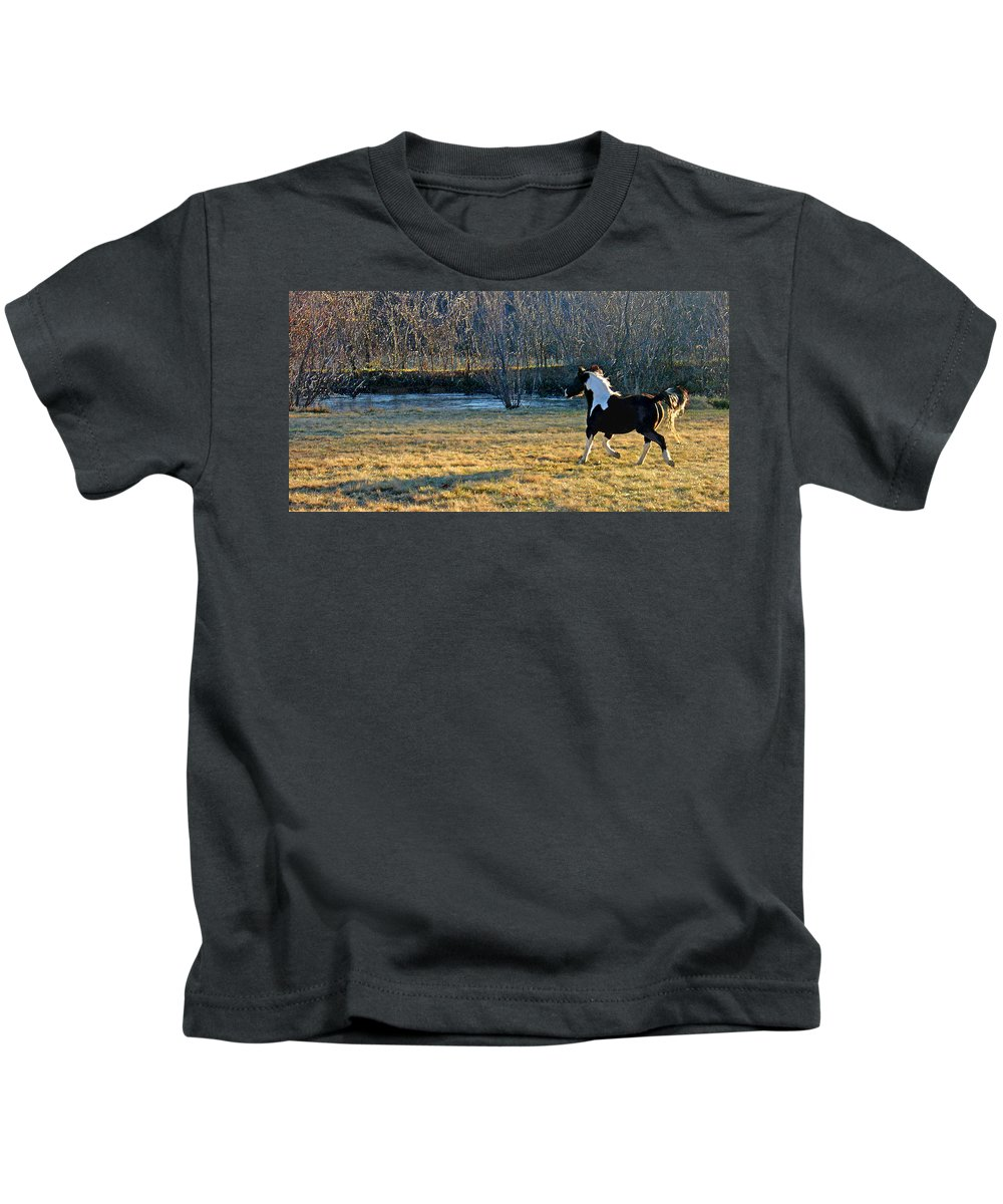 Horse Kids T-Shirt featuring the photograph Prance by Steve Karol