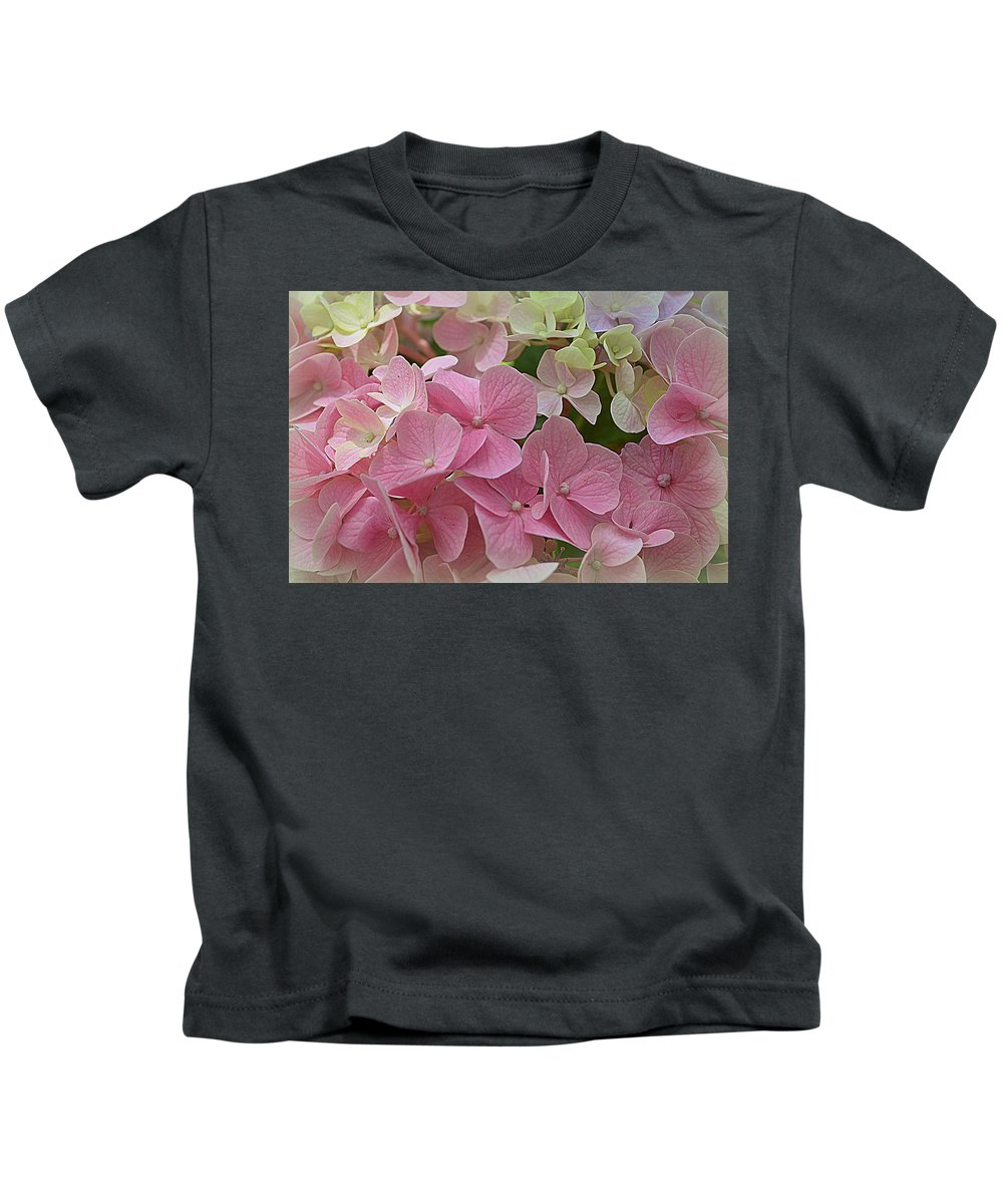 Hydrangeas Kids T-Shirt featuring the photograph Pretty In Pink Hydrangeas by Linda Covino