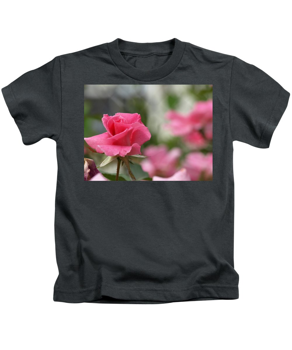 Pink Kids T-Shirt featuring the photograph Pretty In Pink Rose by Cathy Smith